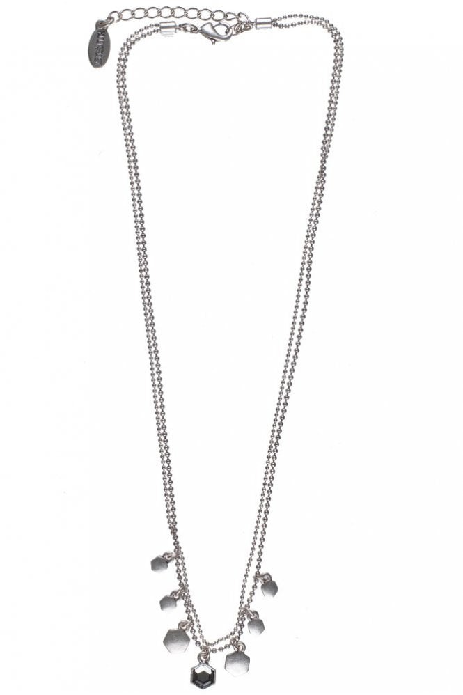 Hultquist Hexagon Silver Necklace with Black Diamond Crystals