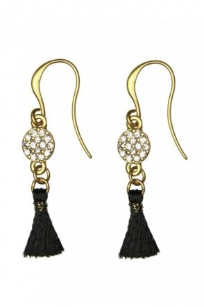 Hook Earrings with Crystal Pendant and Tassel