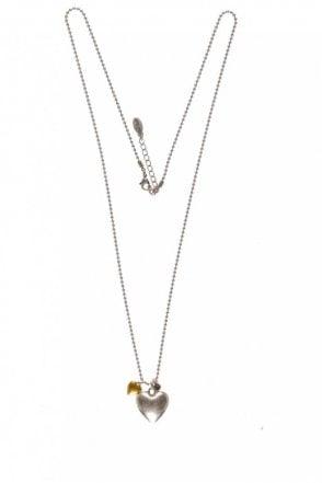 Classic Style Bi Metal Heart Pendant Necklace