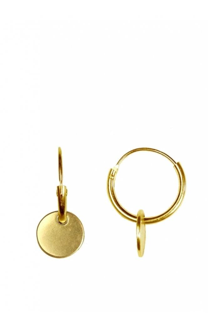Hultquist Jewellery Nordic Minimalism Gold Hoop Coin Pendant Earrings