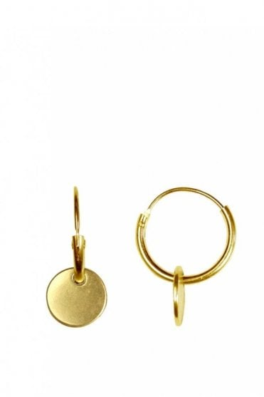 Nordic Minimalism Gold Hoop Coin Pendant Earrings