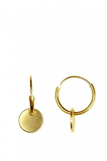 Nordic Minimalism Gold Hoop Coin Pendant Earrings