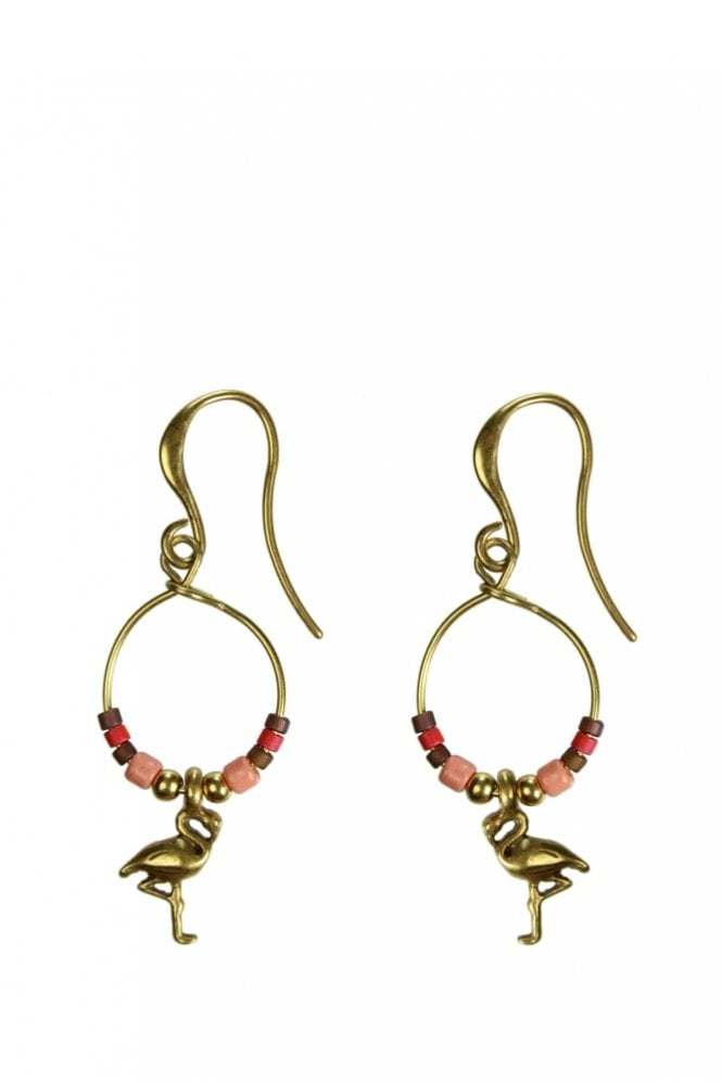 Hultquist Jewellery Tropical Paradise Gold Beaded Flamingo Earrings