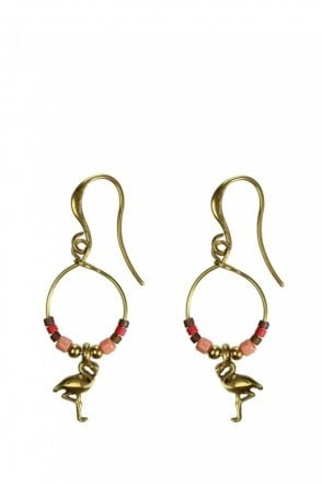 Tropical Paradise Gold Beaded Flamingo Earrings