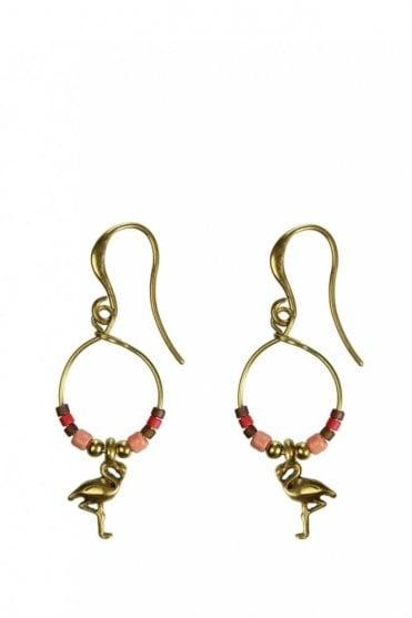 Tropical Paradise Gold Beaded Flamingo Earrings