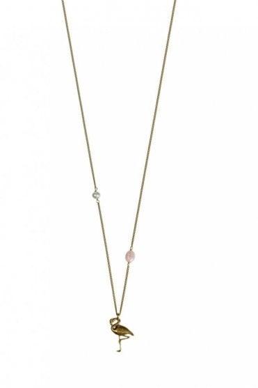 Tropical Paradise Gold Flamingo Necklace