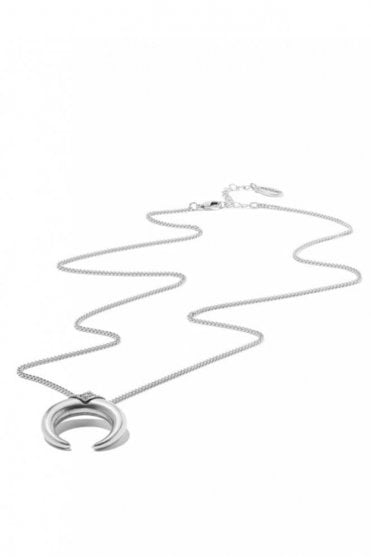 Long Double Horn Necklace in Silver