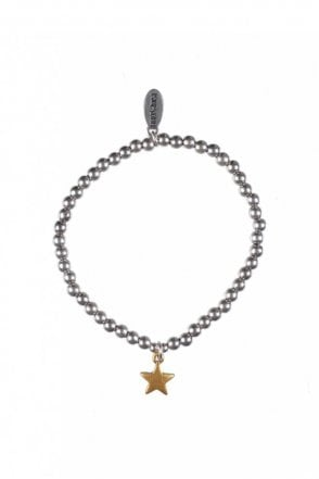 Moon & Star Gold and Silver Elastic Bracelet