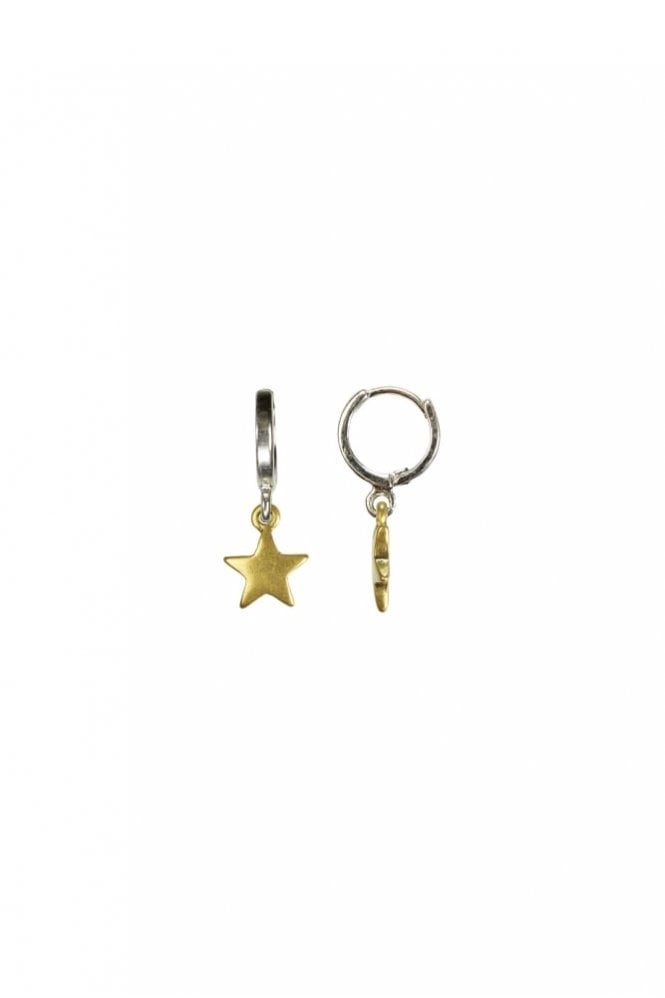 Hultquist Moon & Star Gold and Silver Hoop Earrings