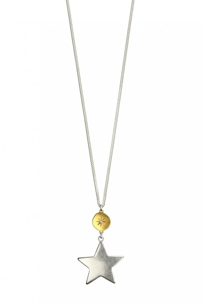Hultquist Jewellery Moon & Star Gold and Silver Long Pendant Necklace