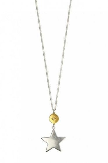 Moon & Star Gold and Silver Long Pendant Necklace