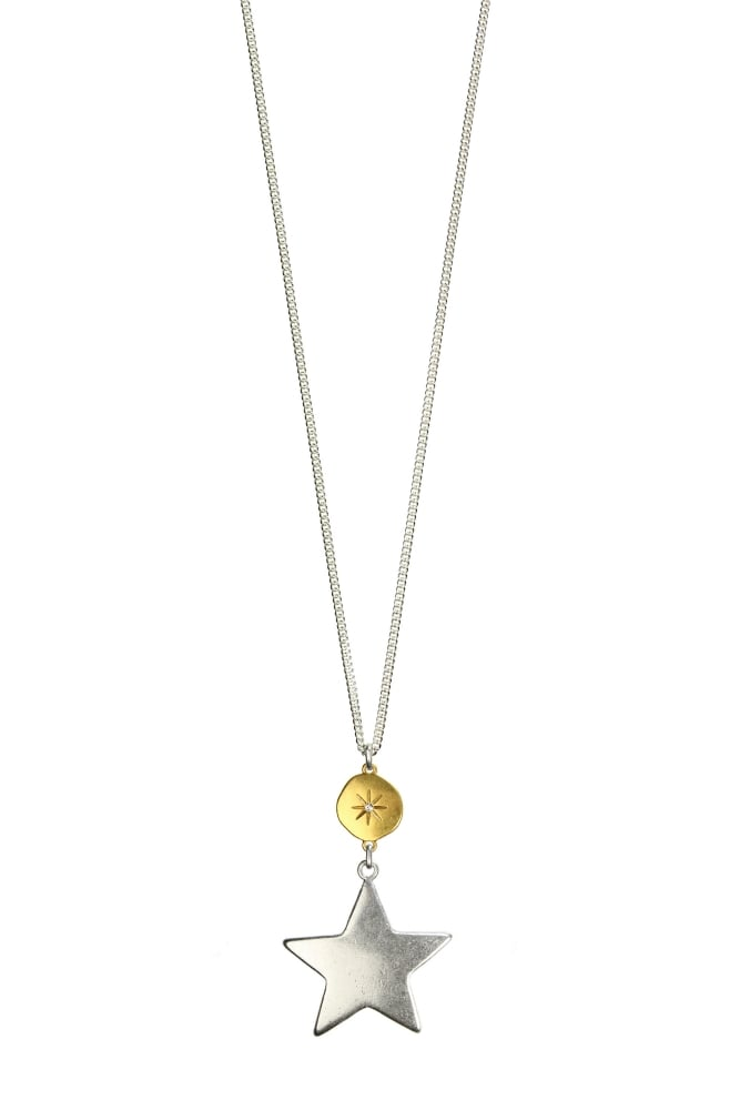 Hultquist moon star gold and silver long pendant necklace hultquist jewellery moon star gold and silver long pendant necklace aloadofball Image collections