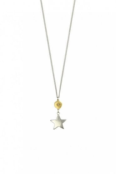 Moon & Star Gold and Silver Pendant Necklace