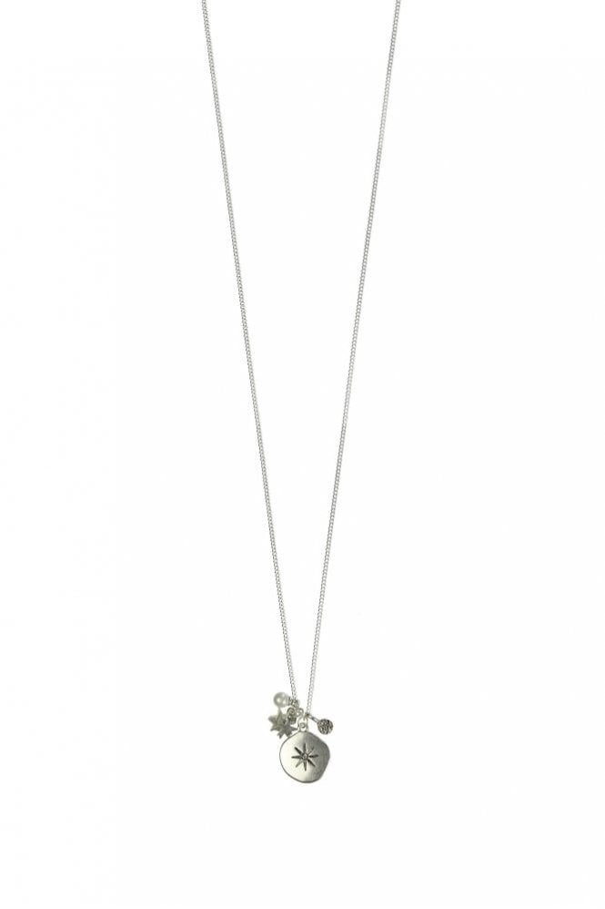 Hultquist Moon & Star Silver Charm Long Necklace