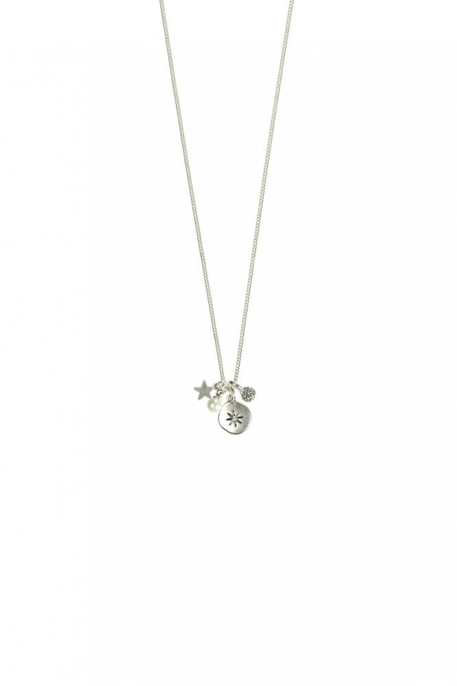 Hultquist Moon & Star Silver Charm Necklace