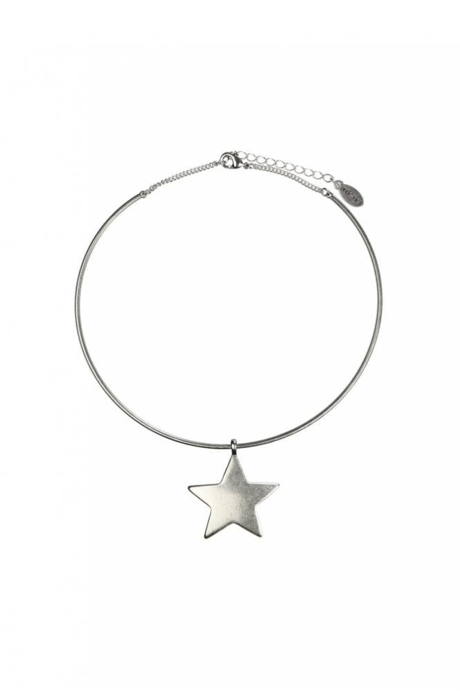 Hultquist Moon & Star Silver Choker Necklace