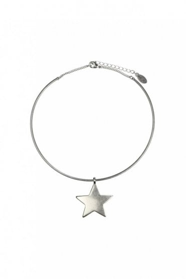 Moon & Star Silver Choker Necklace