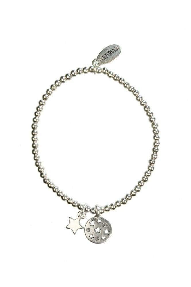Hultquist Moon & Star Silver Crystal Elastic Bracelet