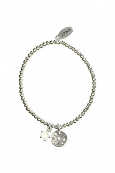 Moon & Star Silver Crystal Elastic Bracelet