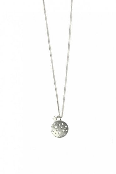 Moon & Star Silver Crystal Pendant Long Necklace
