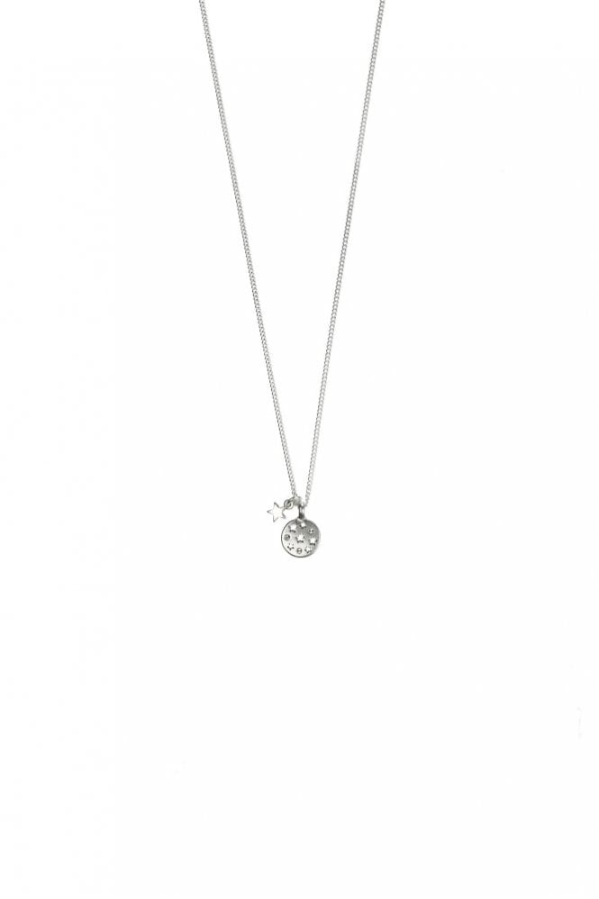 Hultquist Jewellery Moon & Star Silver Crystal Pendant Necklace