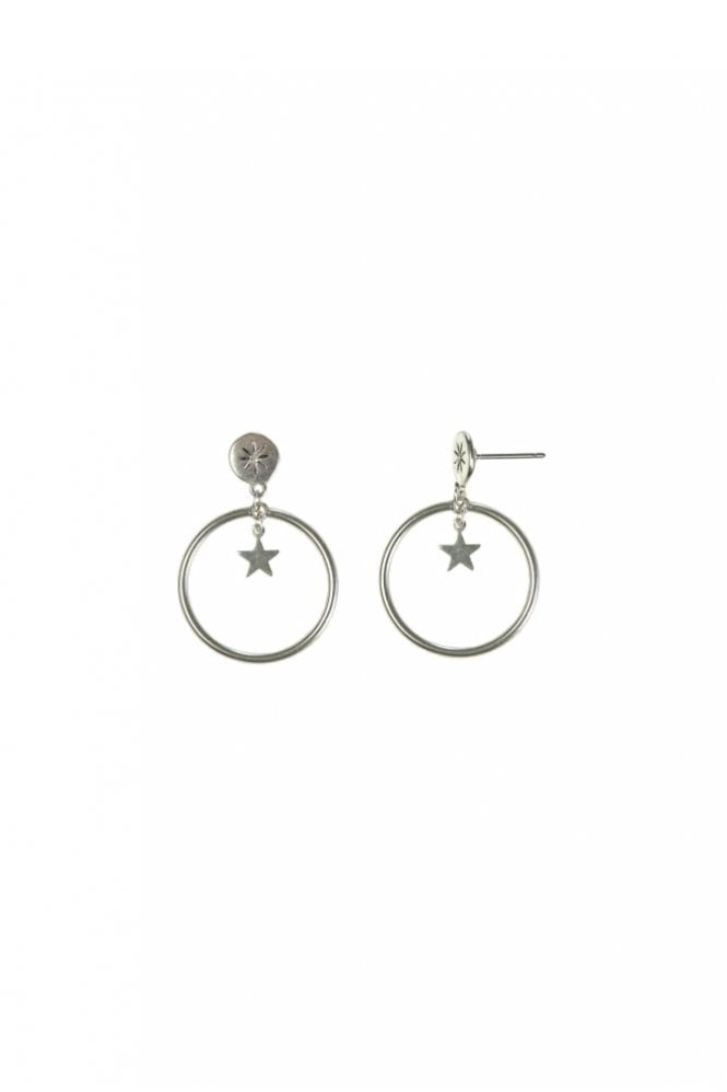 Hultquist Jewellery Moon & Star Silver Drop Hoop Earrings