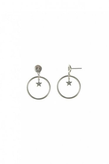 Moon & Star Silver Drop Hoop Earrings