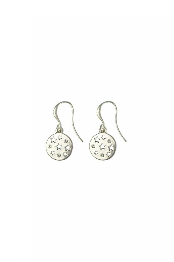 Hultquist Moon & Star Silver Hook Earrings