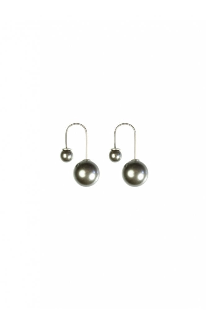 Hultquist New Nordic 2-in-1 Silver and Grey Pearl Earrings