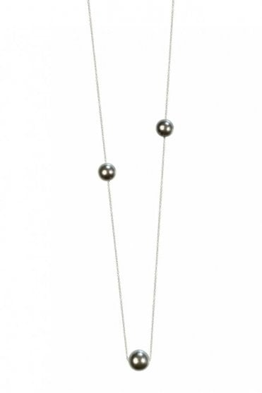 New Nordic Silver Necklace with Grey Pearls