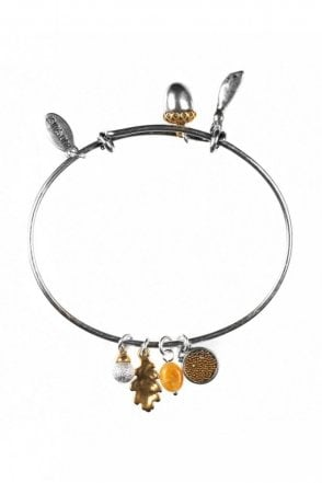 Oak Leaf and Maple Seed Gold and Silver Charm Bangle