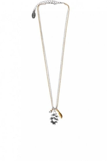 Oak Leaf and Maple Seed Gold and Silver Double Chain Necklace