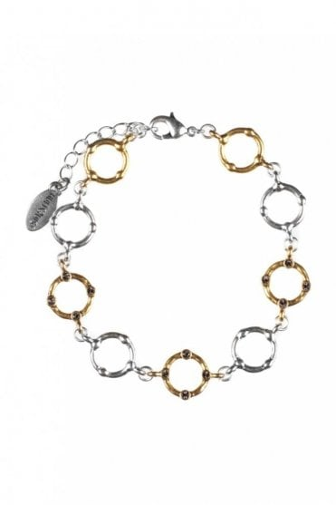 Organic Circle Gold and Silver Crystal Bracelet