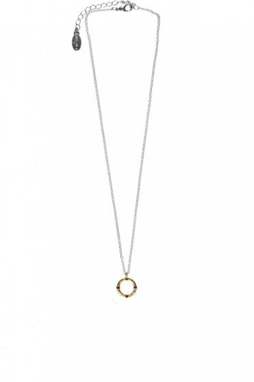 Organic Circle Gold and Silver Pendant Necklace