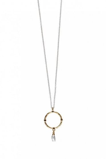 Organic Circle Gold and Silver Pendant Necklace with Pearl