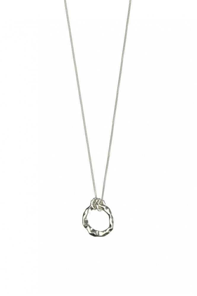Hultquist Organic Circle Silver Long Pendant Necklace