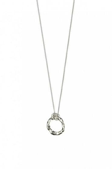 Organic Circle Silver Long Pendant Necklace