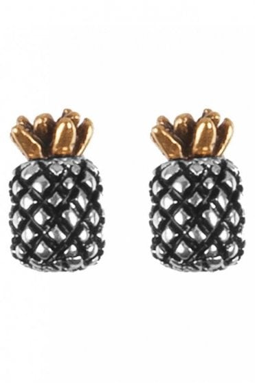 Pineapple Earrings in Silver and Gold
