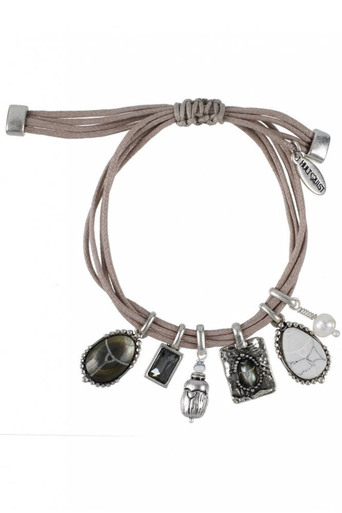 Hultquist Scarab Cord Charm Bracelet