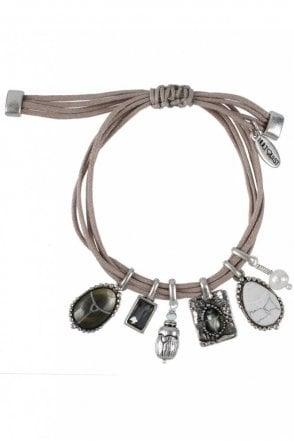 Scarab Cord Charm Bracelet