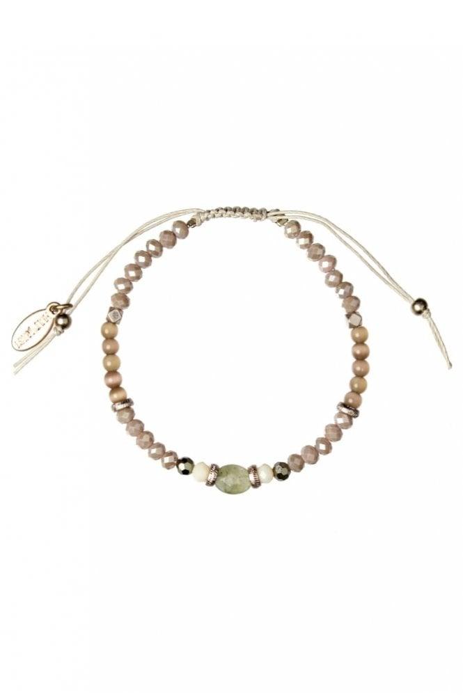 Hultquist Semi Precious Stone Macrame Bracelet in Rosegold and Stone