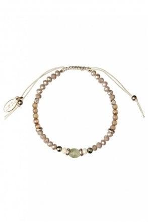 Semi Precious Stone Macrame Bracelet in Rosegold and Stone
