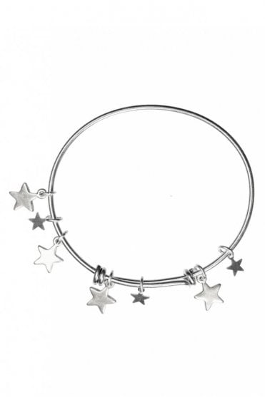 Silver Bangle With Star Pendants