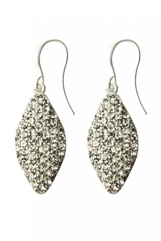 Hultquist Silver Glitter Drop Earrings