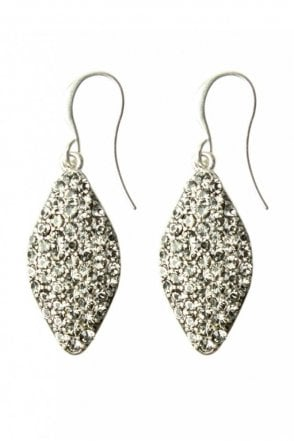 Silver Glitter Drop Earrings