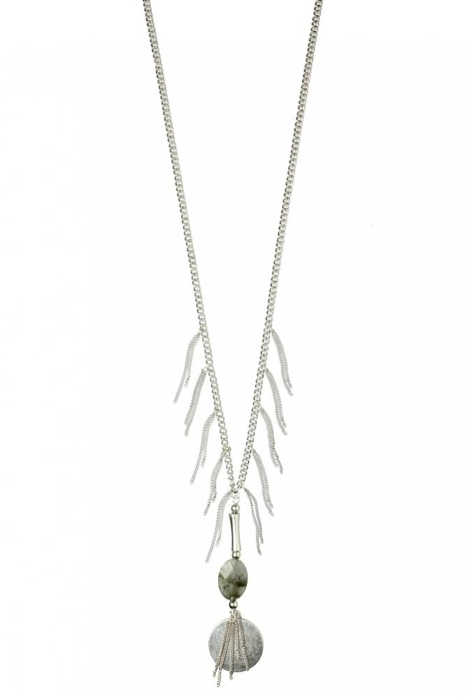 Hultquist Tassel Necklace with Stone in Silver