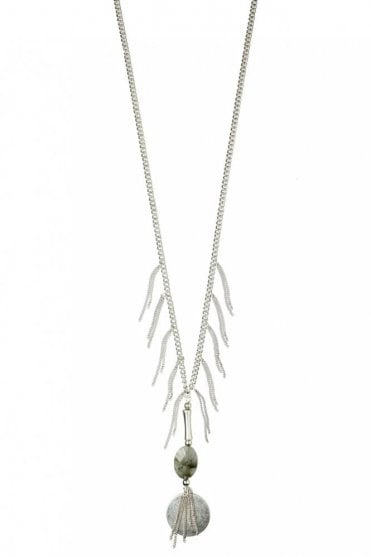 Tassel Necklace with Stone in Silver