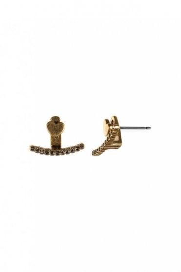 Two In One Gold Heart Double Earrings