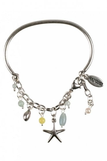 Under the Waves Starfish Bangle Bracelet in Silver