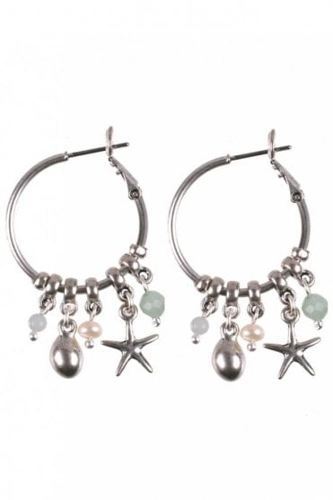 Under the Waves Starfish Hoop Earrings in Silver